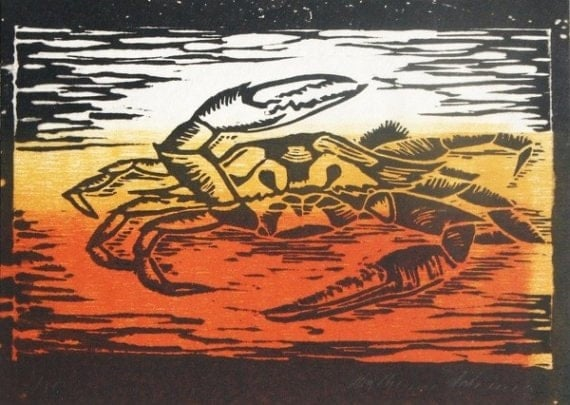 Crab (Orange or White) - Original Woodblock Print