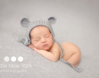 Newborn hat, Newborn photo prop, newborn boy, newborn girl, newborn props, Newborn bonnet with ears.  Available in over 50 colors
