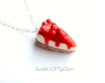 Cheesecake Necklace - Red Cherry Cheesecake Slice Pendant Necklace - Cute Sweet Jewellery - Handmade with Polymer Clay