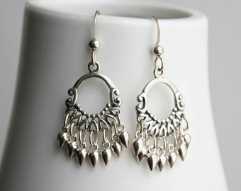 Chandelier Earrings, Silver Earrings, Bollywood Inspired