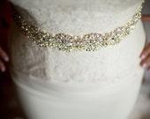 "Swarovski Rhinestone Bridal Sash, Crystal Wedding Belt with Pearls, Ivory Crystal Bridal Sash, 24"" of Rhinestones - AMELIE"