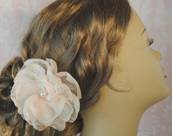 Blush Silk Organza Hair Flower, Bridal Fascinator with Crystals, Ivory, White, Off White, Champagne, Custom Color - AVONLEA