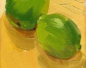 lime orange kitchen art oil painting - 5 x 7 - Lime Kiss