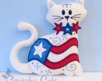 Cat Stuffed Animal Pattern - Felt Plushie Sewing Pattern & Tutorial - Old Glory the 4th of July Cat - Patriotic Embroidery Pattern PDF