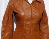Vintage 70's Wilson's Leather Jacket Butternut Squash Pecan Pumpkin Pie Color Size 9-10