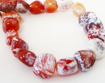"""Crab Fire Agate - Agate Nugget Beads - Brown Orange White - Smooth Pebbles Beads - Natural Gemstone Beads - 16"""" Strand - DIY Jewelry Making"""