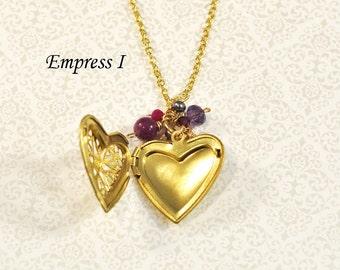 Raw Brass Filigree Heart Locket Necklace, Ruby, Amethyst, Garnet, Rose Quartz, Fresh Water Pearl, Gold Chain, Purple, Gold, Keepsake, Gift