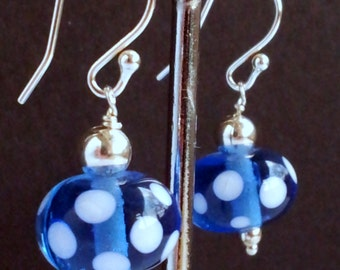 Sterling Silver Earrings. Blue and White Polka Dot Lampwork Bead