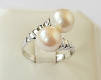 Pearl Engagement Ring white gold ring two pearls ring 9mm white smooth pearl