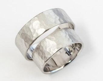 Hammered wedding bands set womens mens wedding rings