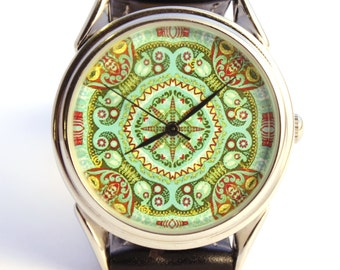 Watch pattern, ladies watch, women watch green turquoise