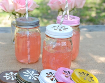 12 Daisy Cut Mason Jar Lids for Candle making or Beverages 9 colors to choose from