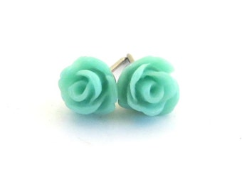 Tiny Aqua Rose Stud Earrings- Surgical Steel or Titanium Post Earrings- 7mmBlack Friday Sale 20% Off