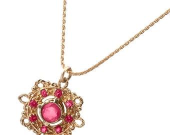 Antique Ruby Pendant Gold Necklace, Ruby Necklace, Ruby Wedding Necklace, Gold Ruby Necklace, Gold Necklace, Vintage Inspired, Art Nouveau