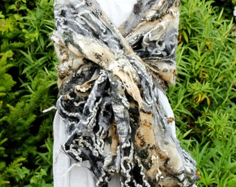 Felted wool scarf shawl Beige grey gray black wrap scarf - cobweb felted wool - made to order fiber art to wear lagenlook