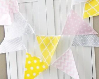 Banner, Bunting, Fabric Pennant Flags, Baby Nursery Decor, Wedding Garland, Birthday Party Decor, Yellow, Pink, Grey, Chevron, Quatrefoil