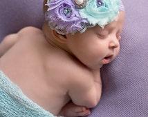 Violet Dreams- aqua and lavender lace ruffle and rosette headband in aqua and lavender