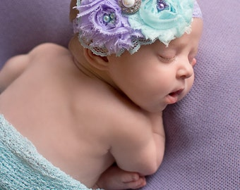 Violet Dreams- aqua and lavender lace ruffle and rosette headband in aqua and lavender