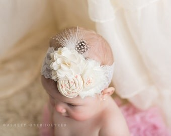 Touch of blush- pink and ivory rosette and burlap bloom headband with feather