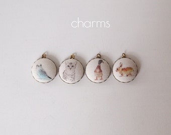 Animal Charms Handmade Set Of 4 - Budgie, Duck, Cat, Rabbit Fabric Charms
