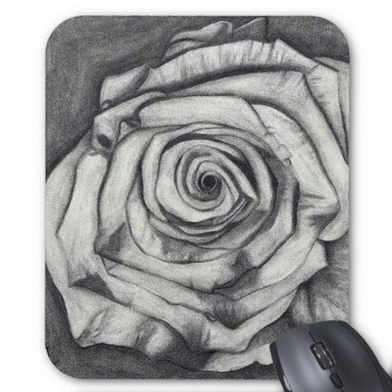 Mousepad Mouse Pad Fine Art Rose Drawing Gray Grey Grayscale Sketch Pencil
