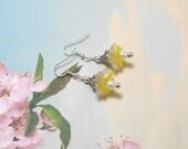 Yellow & White Lucite Flower Earrings - Clearance - Floral Earrings - Spring Earrings