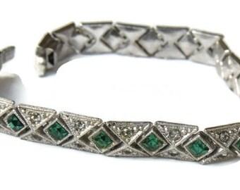 Antique Rhinestone Bracelet Edwardian Sterling Silver Marcasites Green Vintage Jewelry