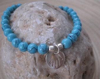 Beaded Bracelet, Hamsa Bracelet, Blue Hamsa Charm Bracelet, Turquoise Hamsa Bracelet, Layering Bracelet, Yoga Jewelry