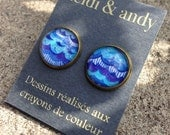 NEW-Hand Drawn Brass Stud Earrings post-Blue Asymmetrical Sea Waves
