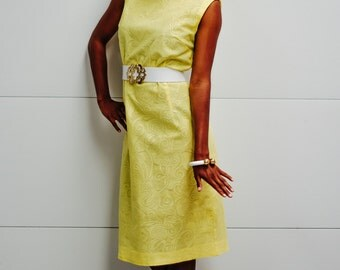 Vintage 1960's Yellow Textured Dress