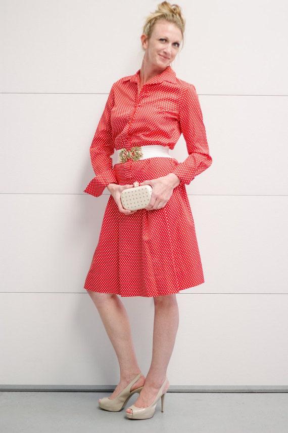 Vintage lanvin red and white polka dot shirt by for White red polka dot shirt