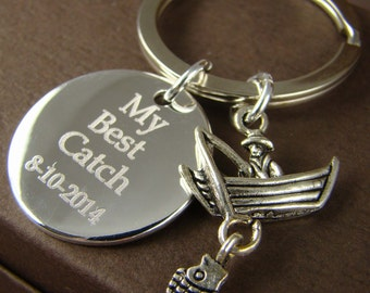 Gift for Him Personalized Fishing Key Ring, My Best Catch Custom Key Ring, Anniversary Gift for Him, Engraved Keychain