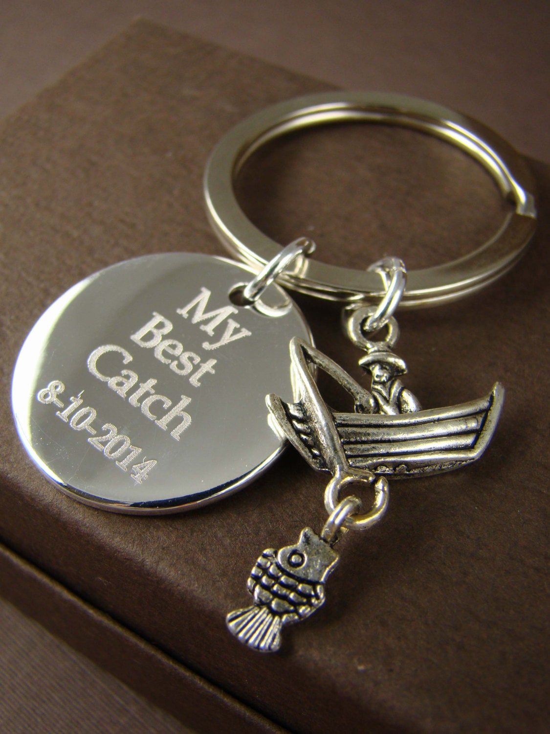 Gift for him personalized fishing key ring my best catch for Fishing gifts for him