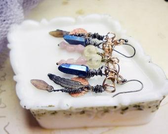 25 DOLLAR SALE - Rustic Chandelier Earrings - Rolled Metal, Feathers, Blue Crystal Daggers - Pink, White Plastic & Glass- Asymmetrical