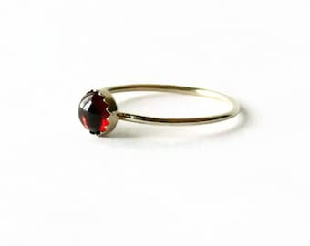 14k Gold ring solid gold garnet ring yellow gold thin gold band simple gold stacking ring thin gold ring
