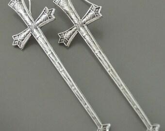 Silver Earrings - Sword Earrings - Chloe Long Earrings - Gothic jewelry - handmade jewelry