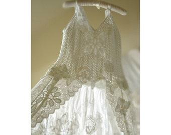 White crochet romantic boho/hippie chic style blouse