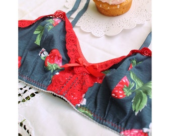 Navy and Red 'Strawberry Shortcake' Summer Cotton and Lace Bra Vinage Style Pin-Up Handmade to Order