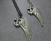 Angel Wing Anchor Necklace by SBC, Antique Silver Angel Wing, Angel Wing and Anchor, Lost at Sea, Choose Antique Silver or Gunmetal Chain