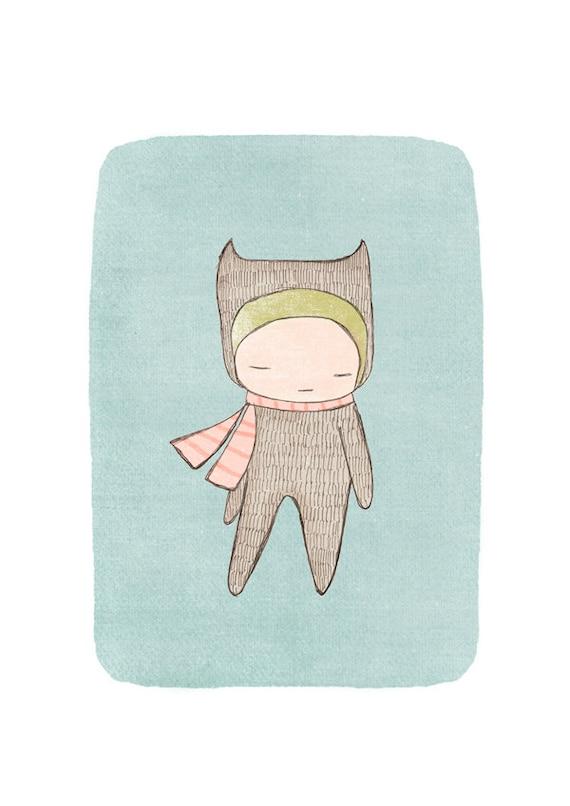 Nursery Print, Nursery Decor, Nursery Wall Art - Bear Girl Sage Green Animal