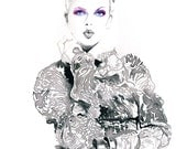 Painting Print of Watercolour Fashion Illustration. Titled: LoveInk