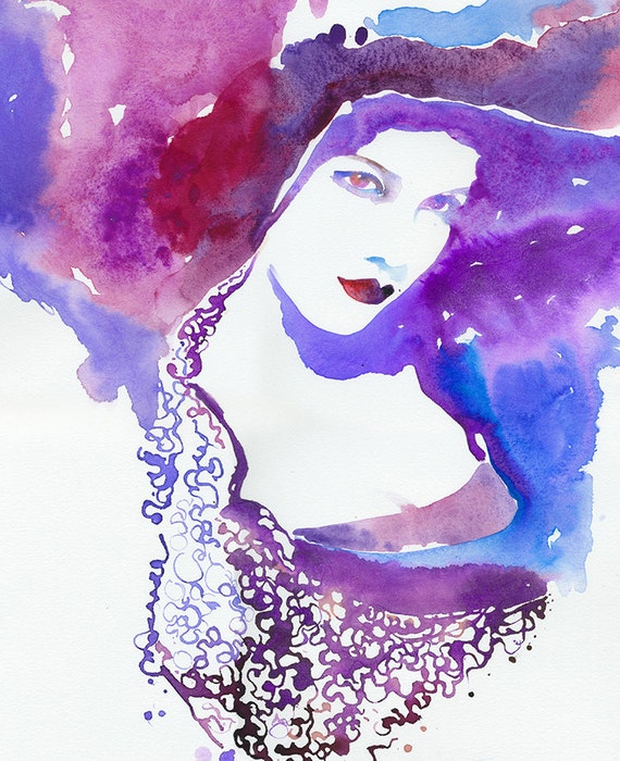 Original Watercolor Fashion Illustration. Titled: VWModelink2