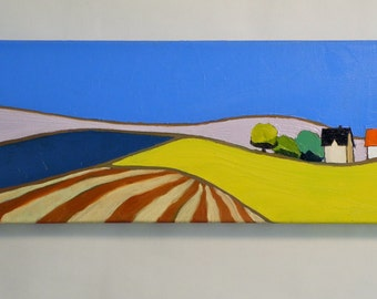 Rolling Fields - Landscape Painting, Large, 10x30- Oil Painting, Fine Art, Barn