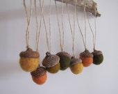 RUSTIC Set of 7 Handmade Felt Acorns Ornaments in Burnt Orange, Yellow,  Brown, Moss Green - Home Party Decor