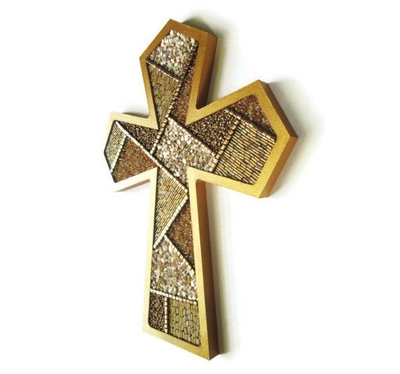 Gold Cross Wall Decor : Decorative wall cross beaded mosaic gold by