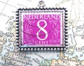 Vintage Purple 8 Cent Netherlands Postage Stamp Necklace Pendant Key Ring
