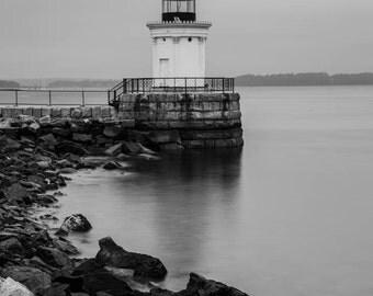 Bug Light, Portland Maine, Fine Art Black and White Photography, Lighthouse Art, Lighthouse Decor, Maine Art