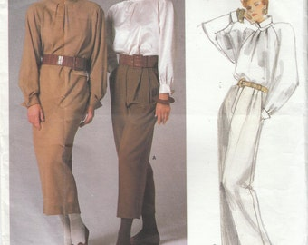 Vintage Vogue Perry Ellis American Designer Sewing Pattern Dress Top Pants 1986 Uncut 80's Style Size 8
