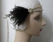 1920's headband 20's headpiece flapper headband - double band of vintage rhinestones, black feathers-  roaring 20's gatsby