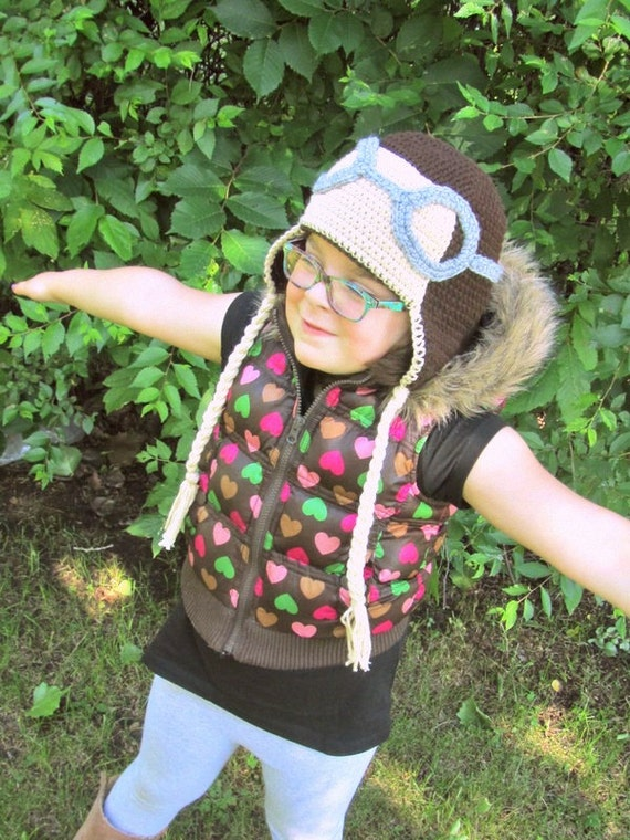 Aviator with Goggles Ear Flap Hat Crochet Size Newborn to Pre-Teen (made to order)